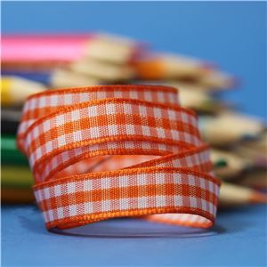 10mm Gingham Ribbon - Orange